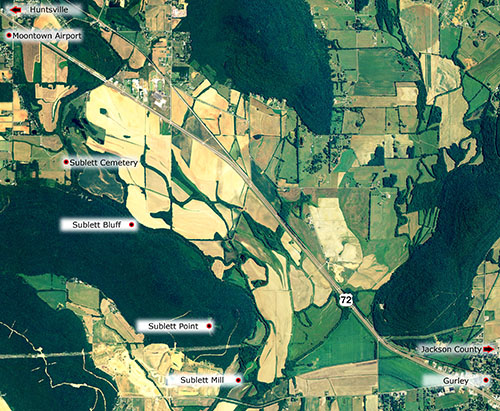 Moontown, Alabama map - Sublett Cemetery, Sublett Bluff, Sublett Point, Sublett Mill